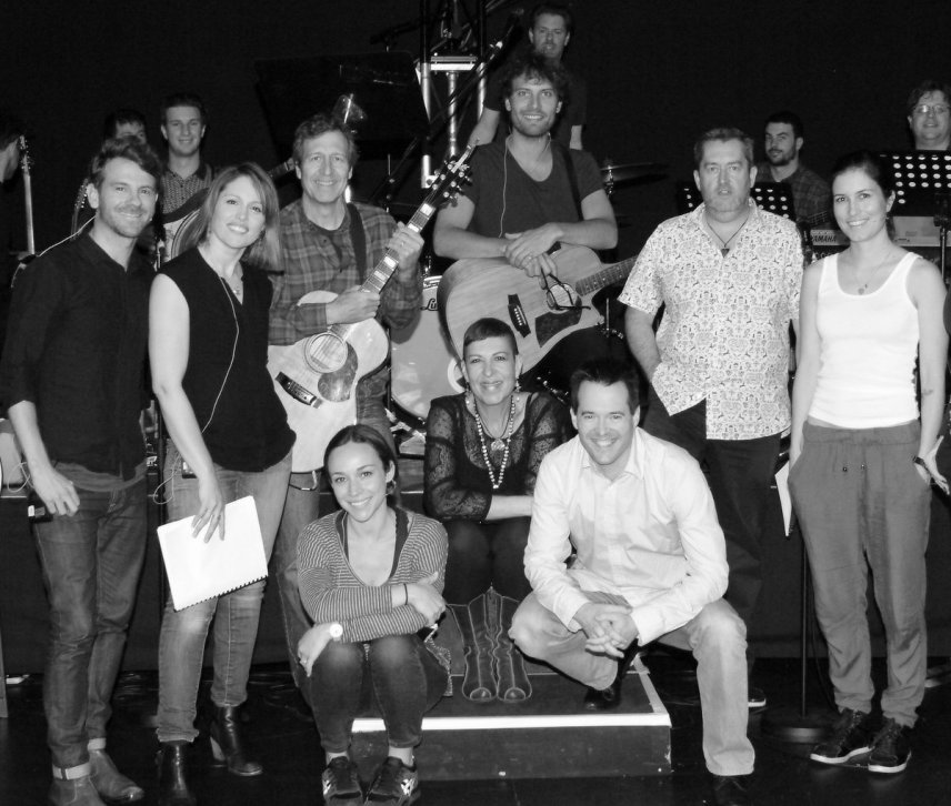 The cast, band & collaborators with Alan: New musical workshop, St Kilda, Melbourne, November 2015